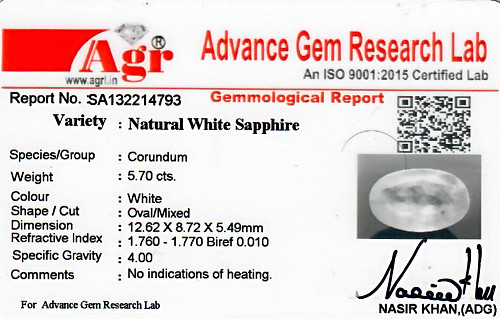 White Sapphire - 5.70 carats