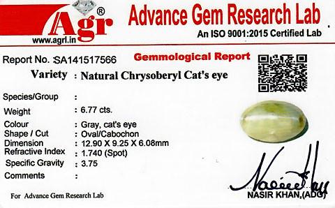 Chrysoberyl Cat's Eye - 6.77 carats