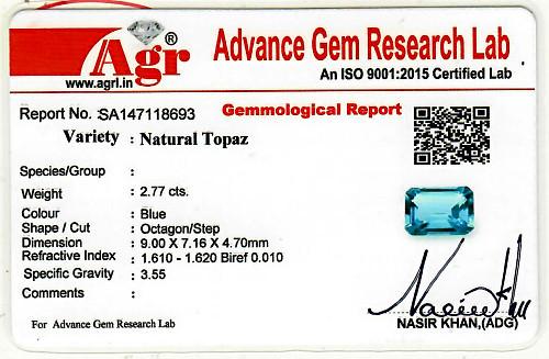 Swiss Blue Topaz - 2.77 carats