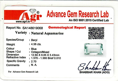 Aquamarine - 4.56 carats