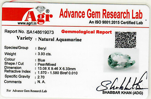 Aquamarine - 3.93 carats