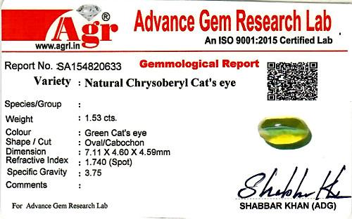 Chrysoberyl Cat's Eye - 1.53 carats