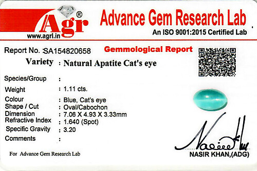 Apatite Cat's Eye - 1.11 carats