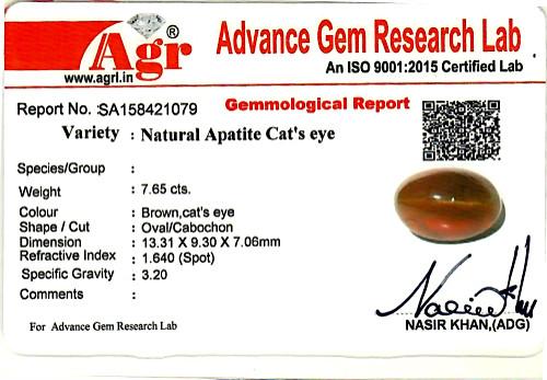 Apatite Cat's Eye - 7.65 carats