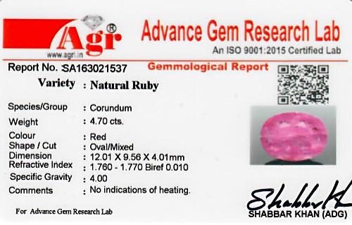 Ruby - 4.70 carats
