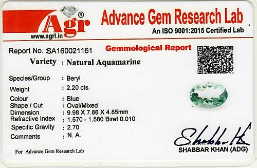 Aquamarine - 2.20 carats