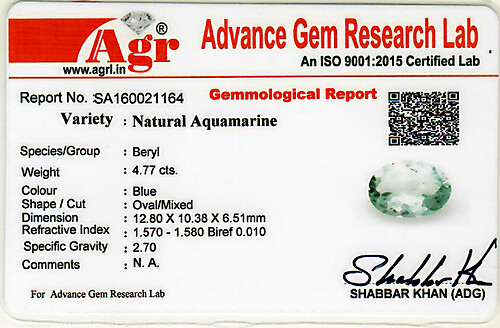 Aquamarine - 4.77 carats
