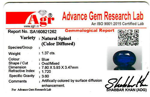 Blue Spinel - 1.37 carats