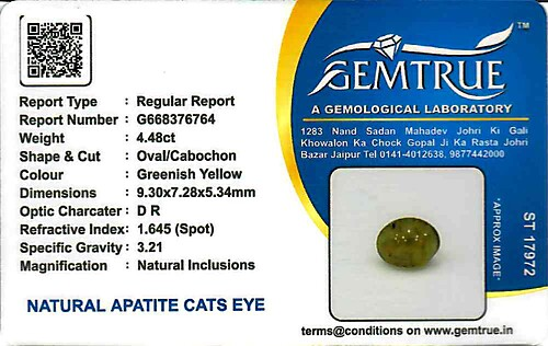 Apatite Cat's Eye - 4.48 carats