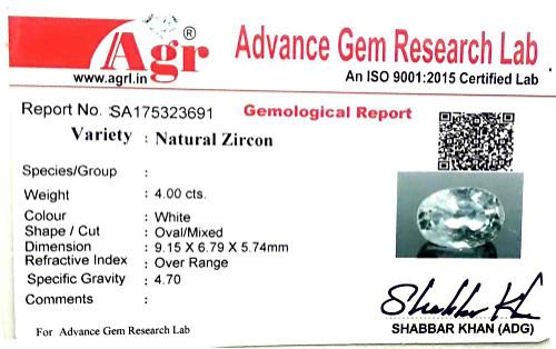 White Zircon - 4 carats