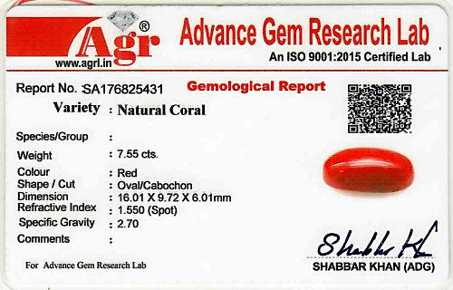 Red Coral - 7.55 carats
