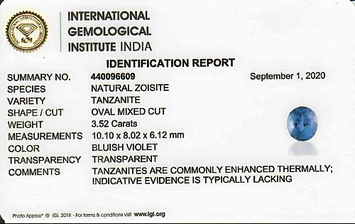 Tanzanite 10x8 - 3.52 carats (AAA)
