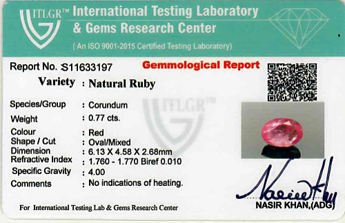 Ruby - 0.77 carats