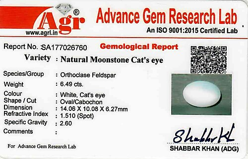 Moonstone Cat's Eye - 6.49 carats