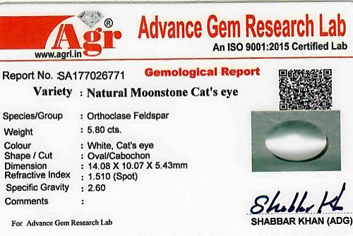 Moonstone Cat's Eye - 5.80 carats