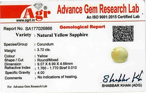 Yellow Sapphire - 3.72 carats