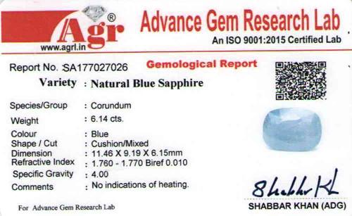 Blue Sapphire - 6.14 carats