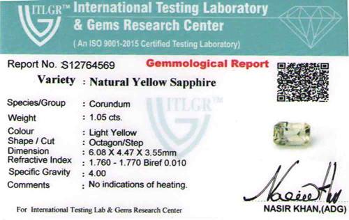 Yellow Sapphire - 1.05 carats
