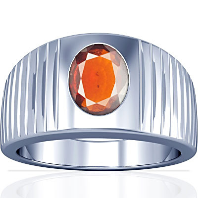 Hessonite Silver Ring (A5)