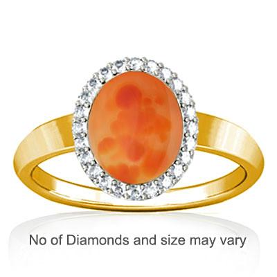 Orange Onyx Gold Ring (R1-Sparkle)