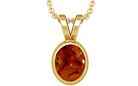 Brown Amber Gold Pendant (D1)