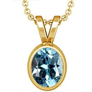 Blue Topaz Gold Pendant (D1)