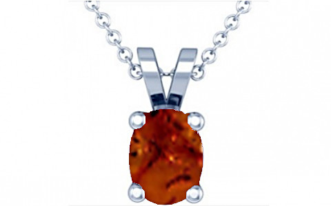 Brown Amber Silver Pendant (D2)