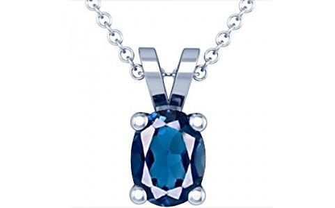 London Blue Topaz Silver Pendant (D2)