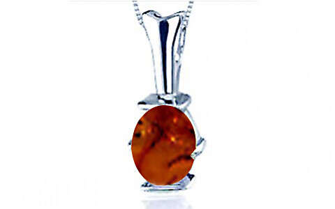 Brown Amber Silver Pendant (D3)