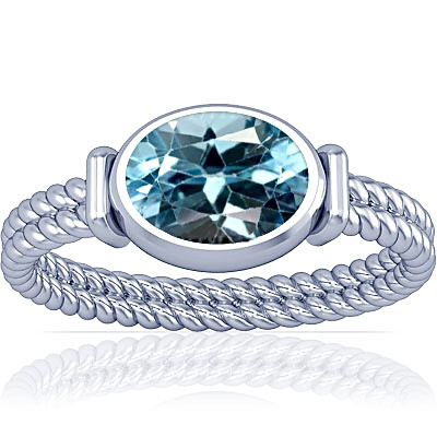 Blue Topaz Silver Ring (A11)
