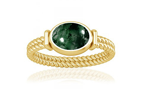 Moss Agate Gold Ring (A11)
