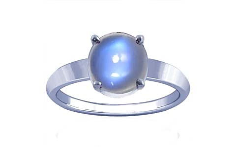 Blue Sheen Moonstone Sterling Silver Ring (A18)