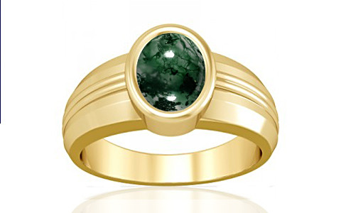 Moss Agate Gold Ring (A4)