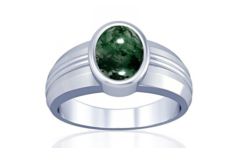 Moss Agate Silver Ring (A4)