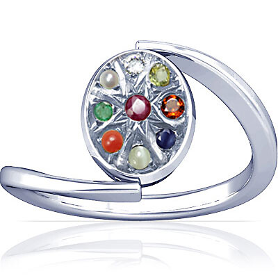 Navratna Sterling Silver Ring (A6)