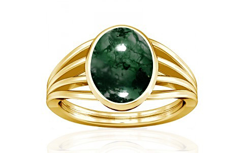 Moss Agate Gold Ring (A7)