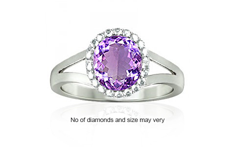 Amethyst Sterling Silver Ring (A2-Sparkle)