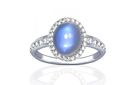 Blue Sheen Moonstone Sterling Silver Ring (R1-Dazzle)