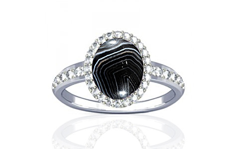 Striped Onyx Sterling Silver Ring (R1-Dazzle)