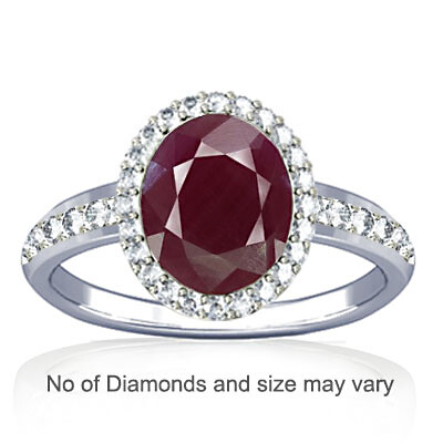 Ruby (India) Sterling Silver Ring (R1-Dazzle)