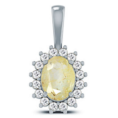 Yellow Topaz Sterling Silver Pendant (D4 SPARKLE)