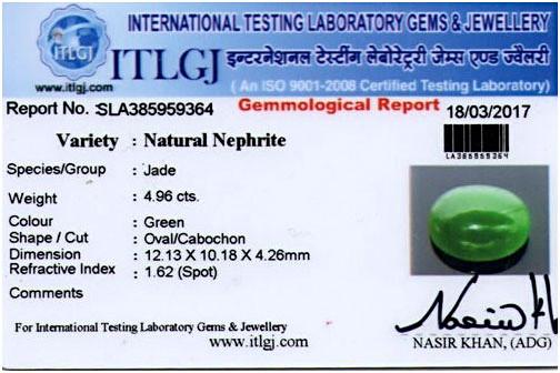 Jade Jewelry Certification