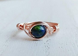 Azurite Rings in Rose Gold