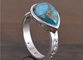 Azurite Stone Rings in Sterling Silver