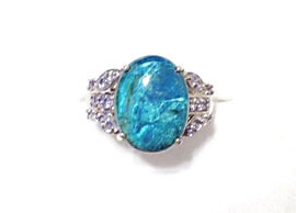 Azurite Stone Rings in White Gold