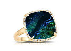 Cushion-Cut Azurite Stone Rings