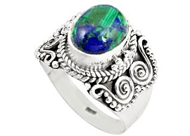 Oval Azurite Malachite Ring