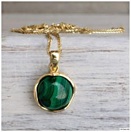 14K Yellow Gold Malachite Pendants