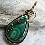Brass Malachite Pendants