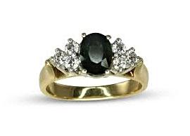 Dark Green Sapphire Ring